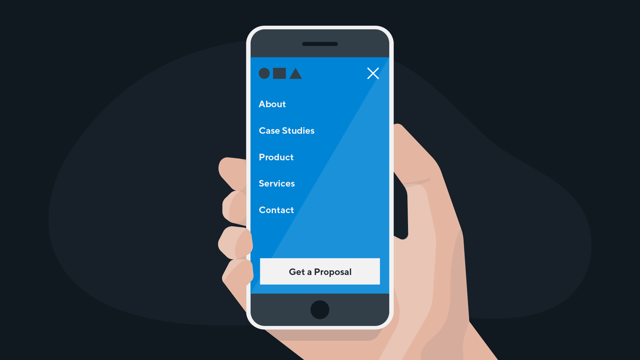 An image of a person holding a mobile phone viewing a website's mobile experience