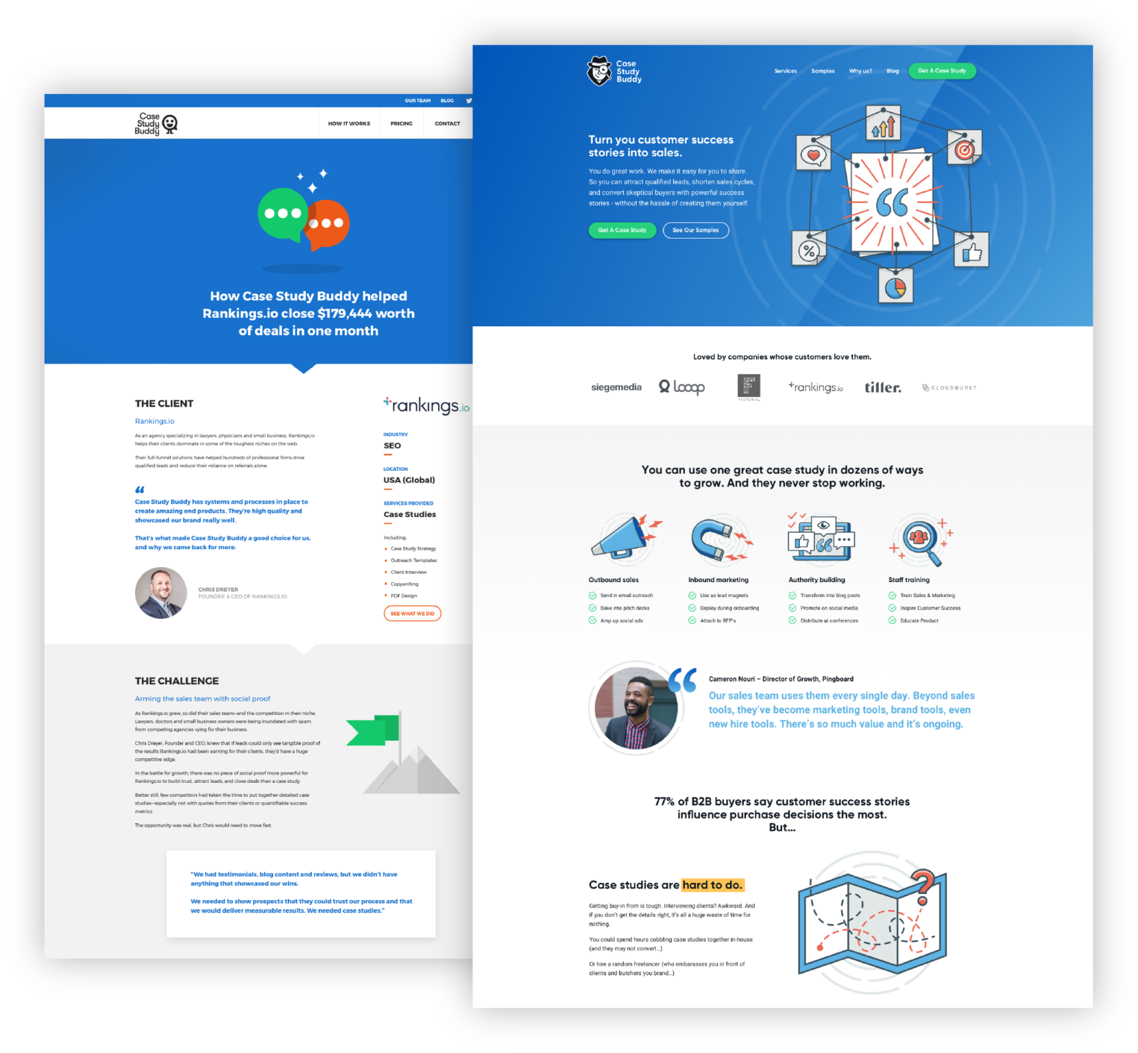 Case Study Buddy website before and after rebranding
