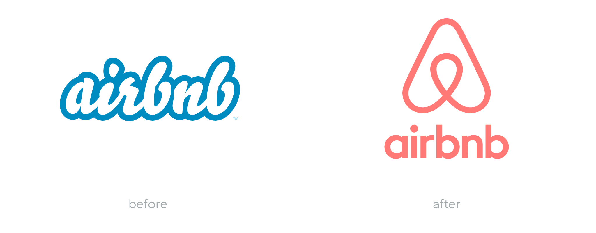 Airbnb logo before and after rebranding