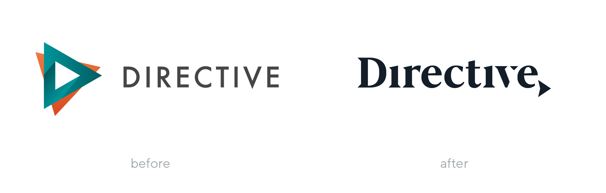 Directive Consulting logo before and after rebranding