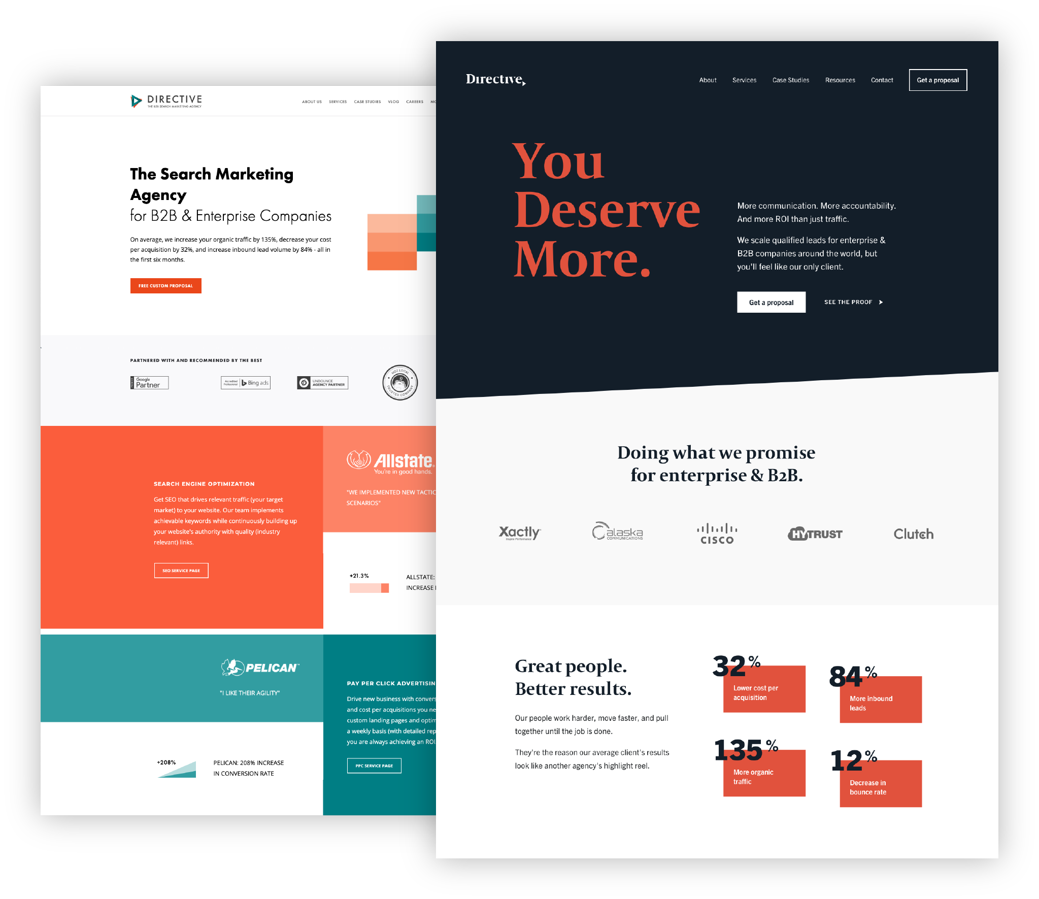 Directive Consulting website before and after rebranding