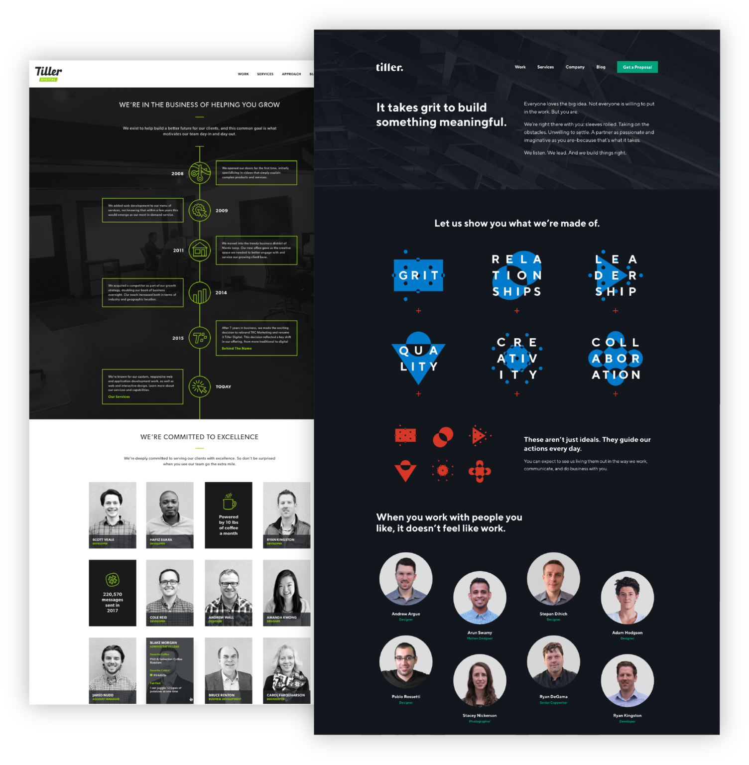 Tiller website before and after rebranding