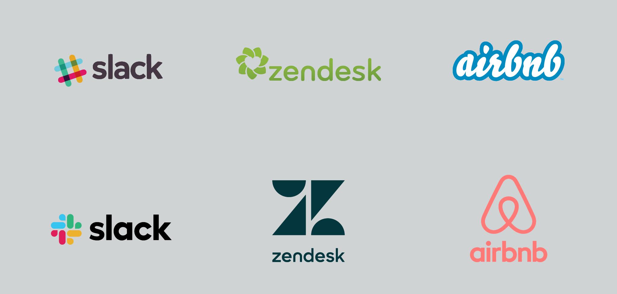 Slack rebrand, Zendesk rebrand, Airbnb rebrand