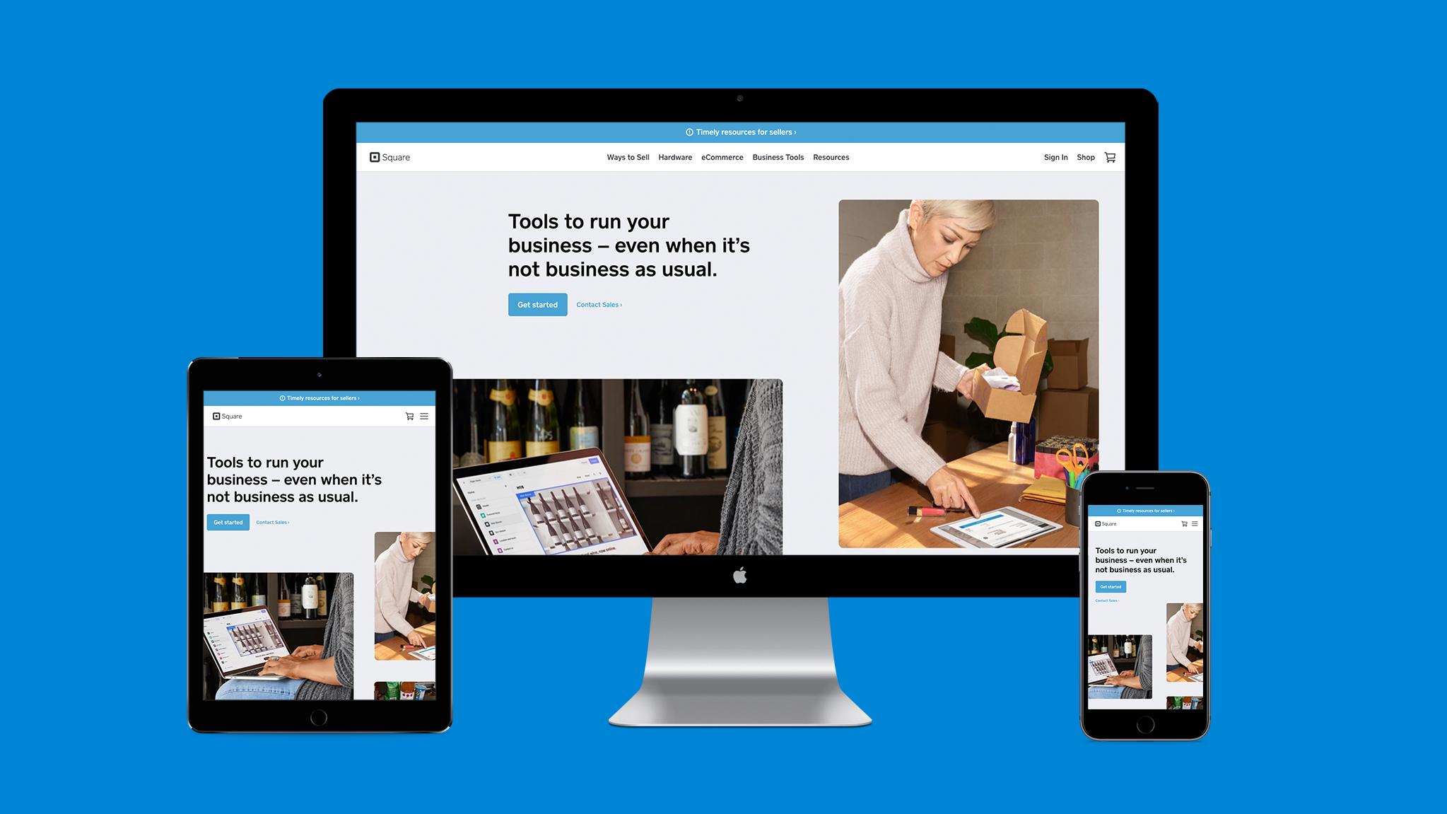 Illustration of responsive web design on Square's website