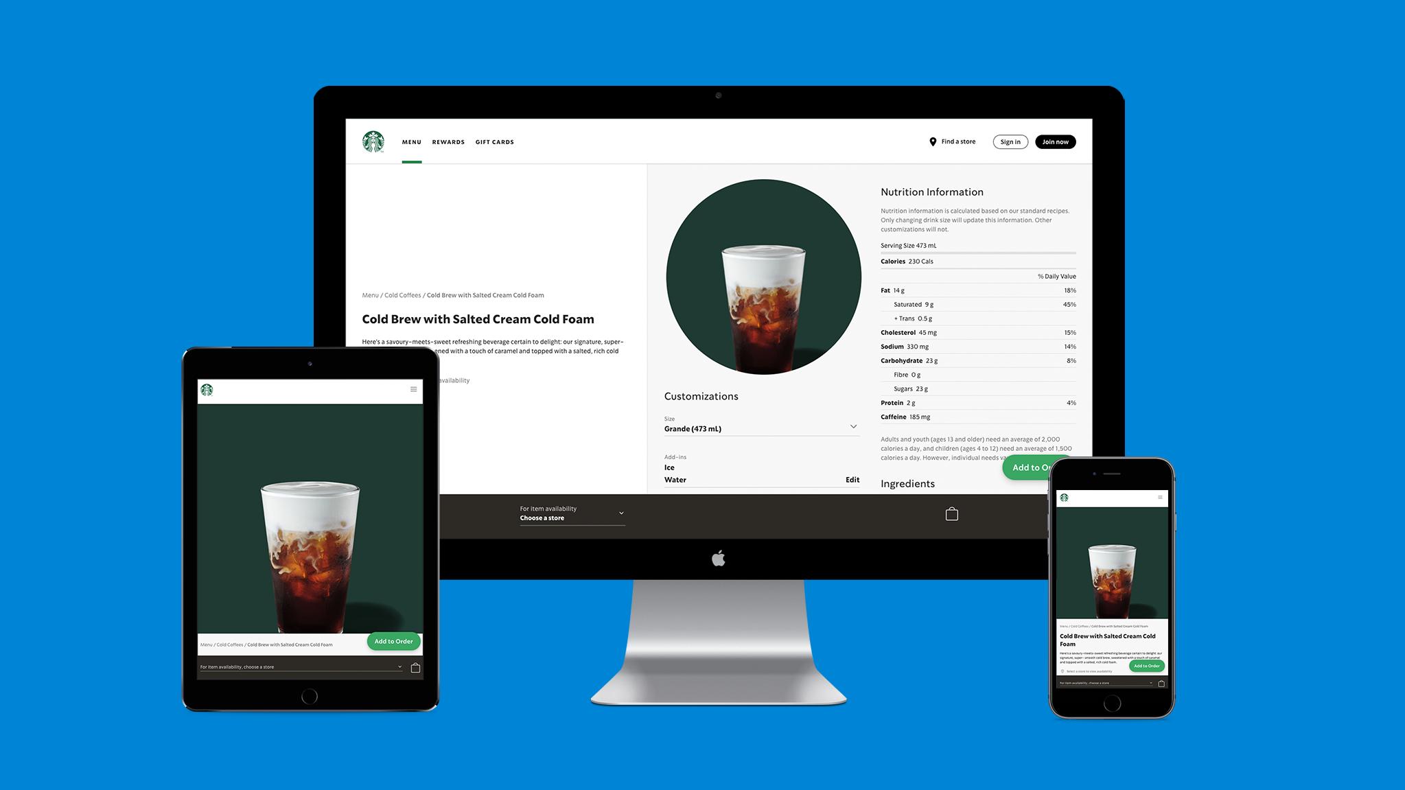 Illustration of the Starbucks progressive web app